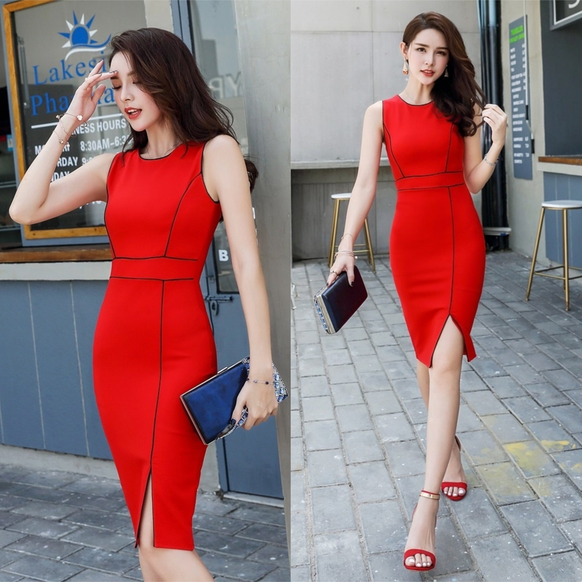 Lauren Panel Side Slit Dress