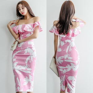 Chassen Romantic Pink Off-Shoulder Dress