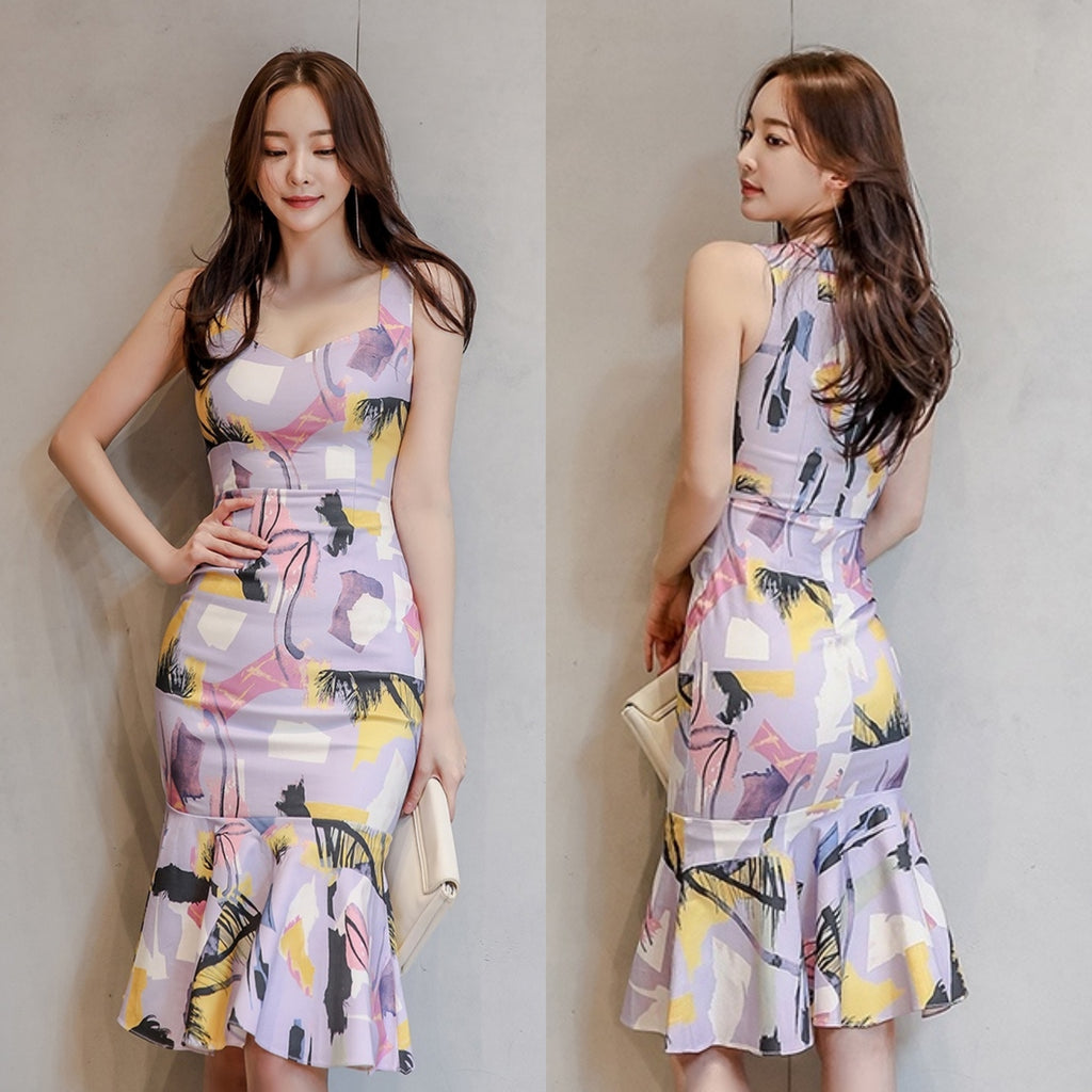 Marbella Mauve Abstract Print Dress