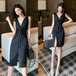 Anya Knot Front Slit Dress