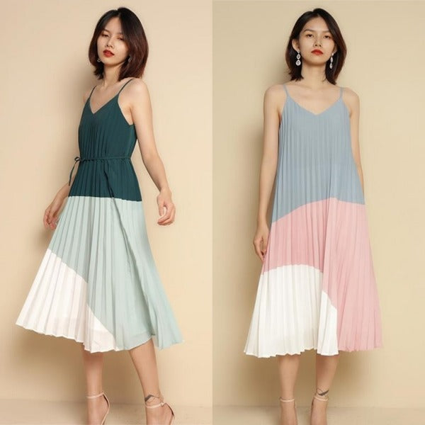 Ruth Colorblock Pleated Midi Dress