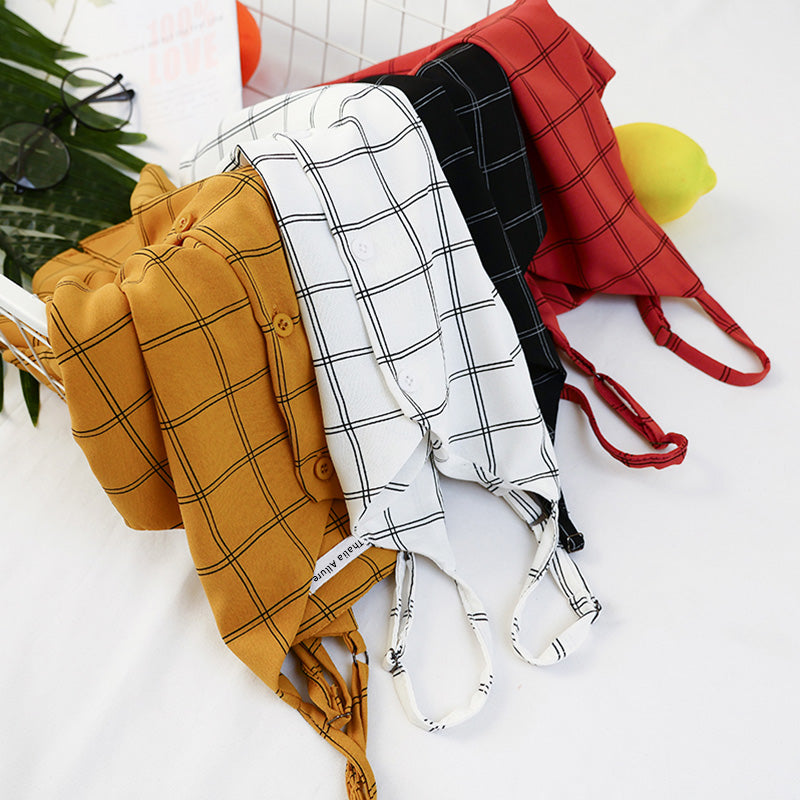 Mierre Plaid Cami Crop Top [4 colors]