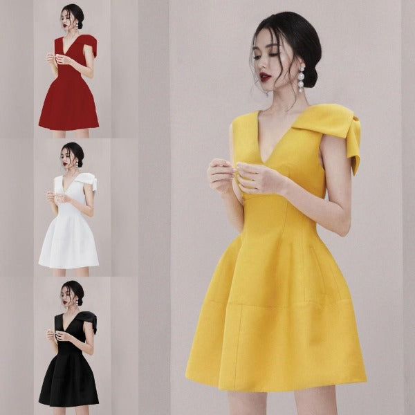 Hepburn One Shoulder Bow Dress