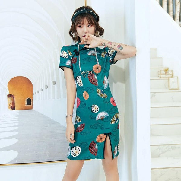 Grace Front Slit Cheongsam in Green