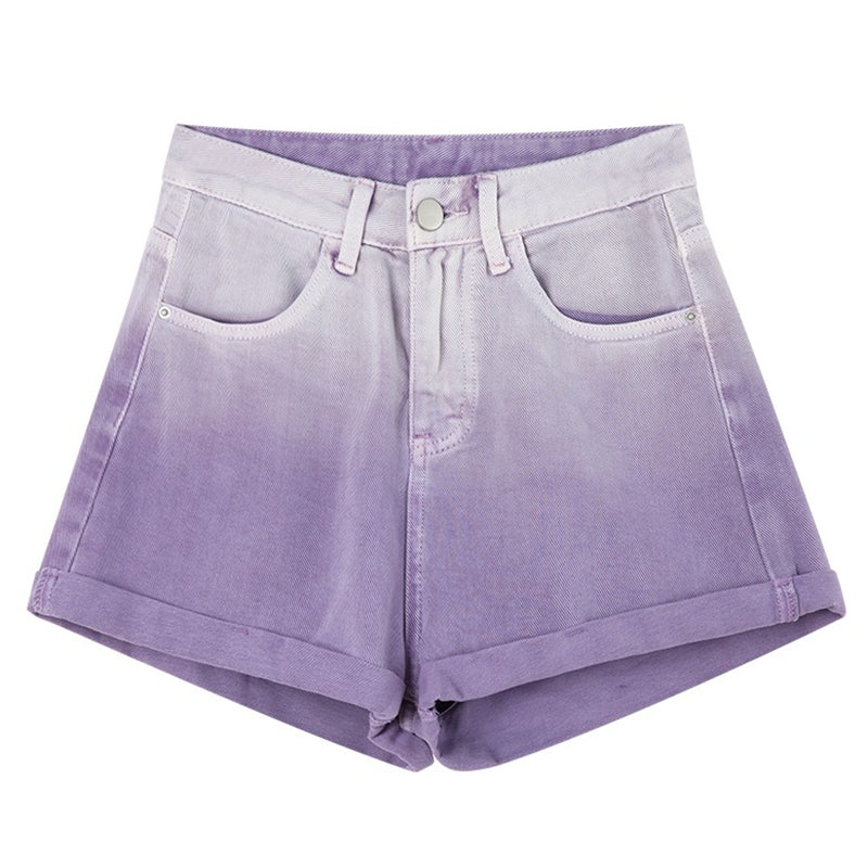 Morado Gradient Purple Denim Shorts