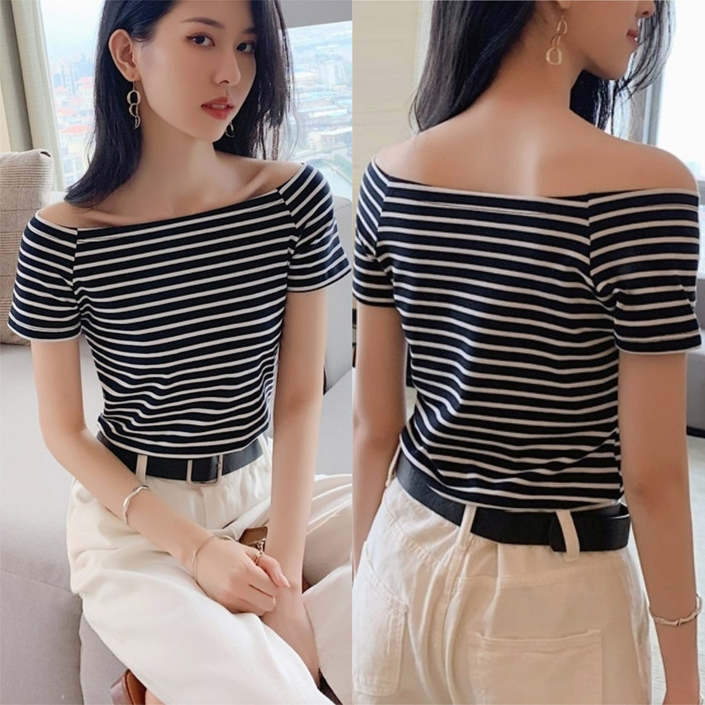 Eva Off Shoulder Stripe Top