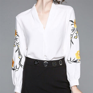 Junyo Embroidered Bishop Sleeve Blouse