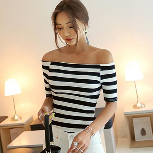 Perri Off Shoulder Stripe Tee
