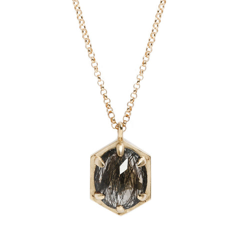 LARGE HEXAGON QUARTZ NECKLACE