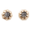 TINY GRAY DIAMOND GOLD STUDS