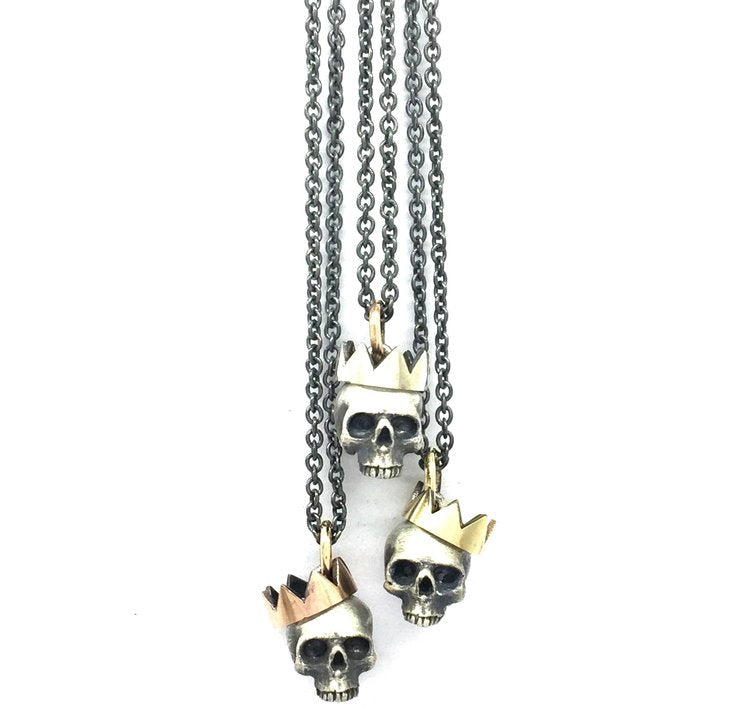 Yellow Gold Paper Crown Skull Pendant