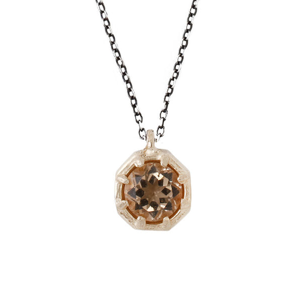 LARGE GOLD OCTAGON NECKLACE CHAMPAGNE QUARTZ