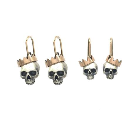 Tiny Paper Crown Skull Earrings PAPRCR02