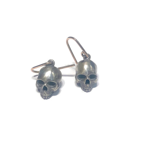 Skull Earrings- Silver with Rose Gold Wire