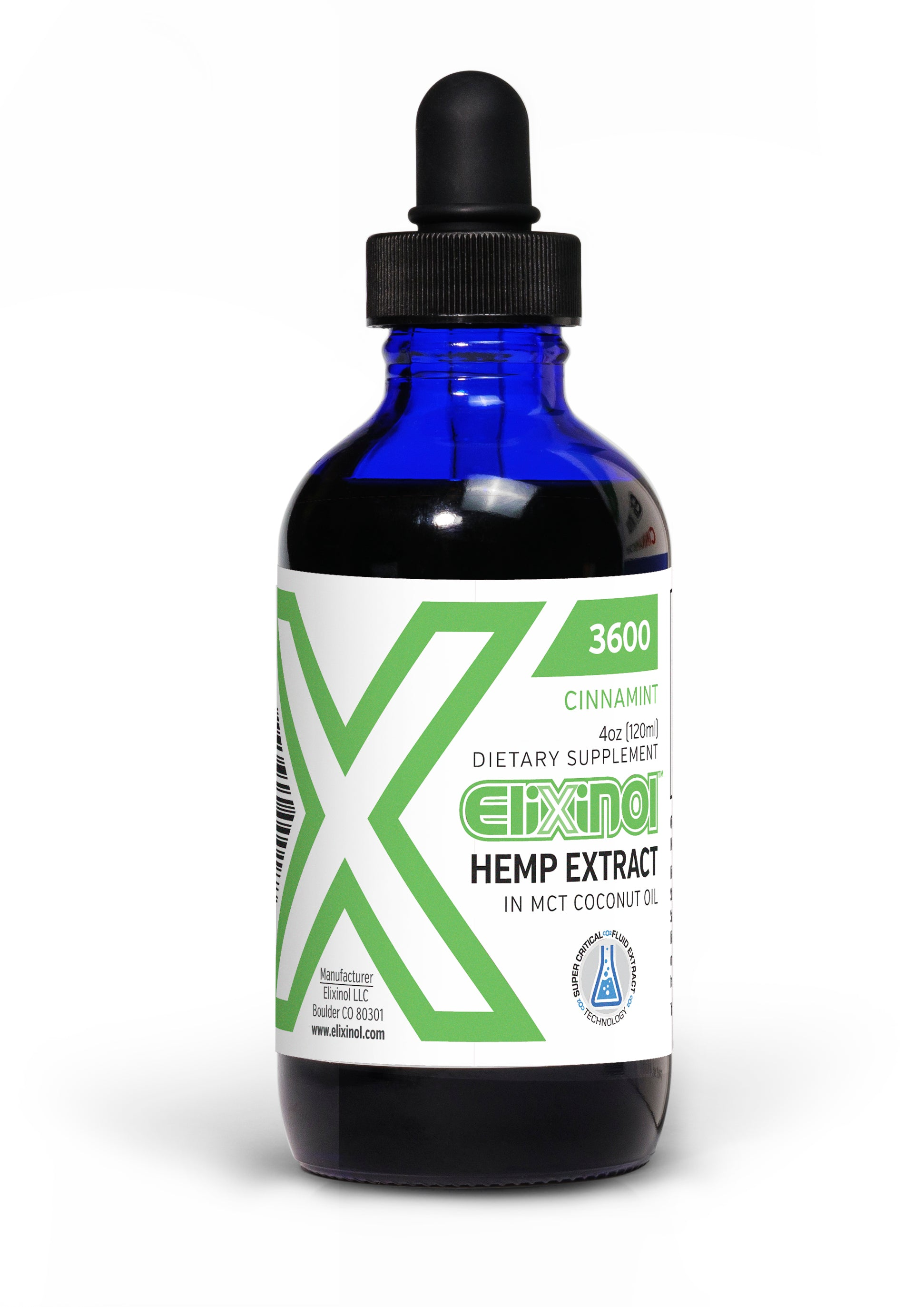 Elixinol 3600mg Cinnamint or Natural Flavor Tincture