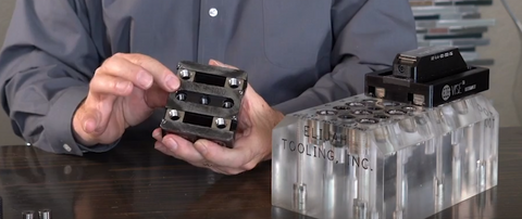 The bottom of this modular cnc workholding vise can be held by invert-a-bolt fasteners or screws