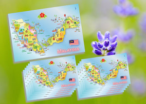 10 pieces - Map of Malaysia 2018