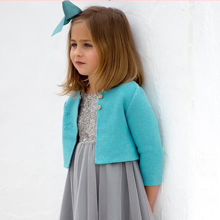 Aquamarine baby cardigan - orkids boutique