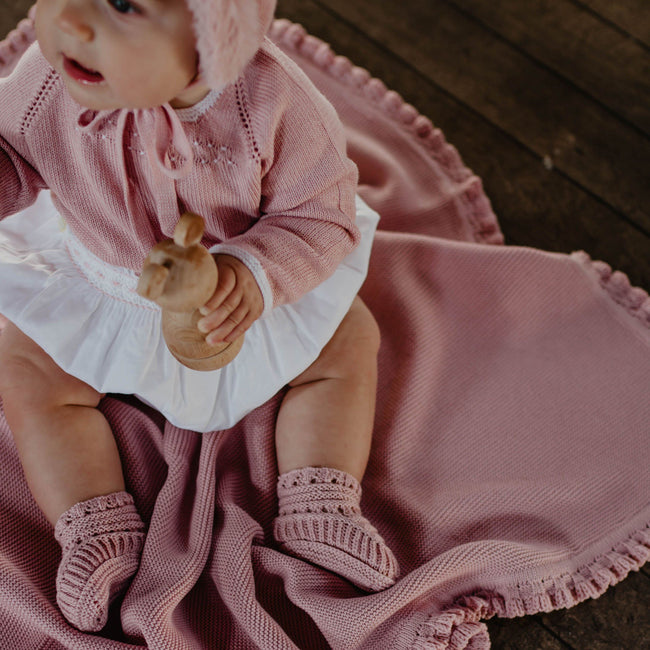 Dusty pink Baby knitted blanket - orkids boutique