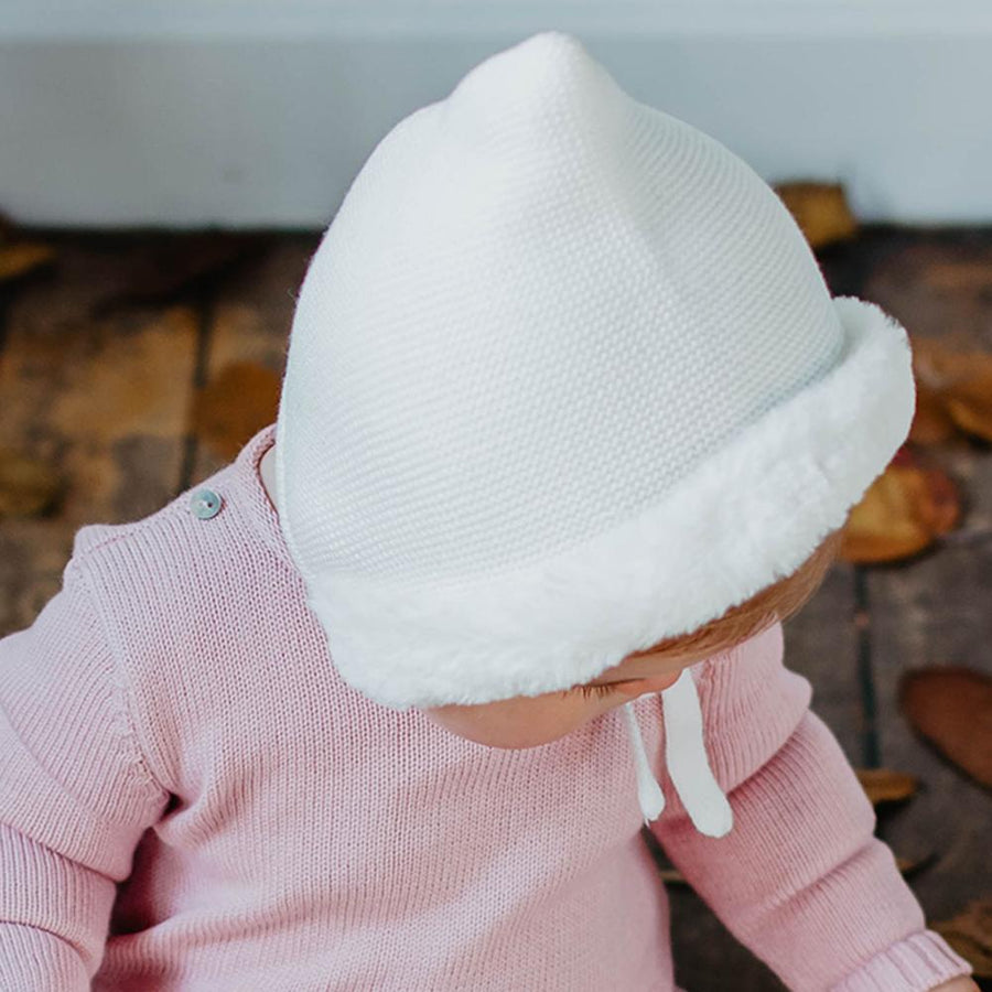 White Baby knitted bonnet - orkids boutique