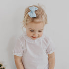 Blue linen Medium bow clip - orkids boutique