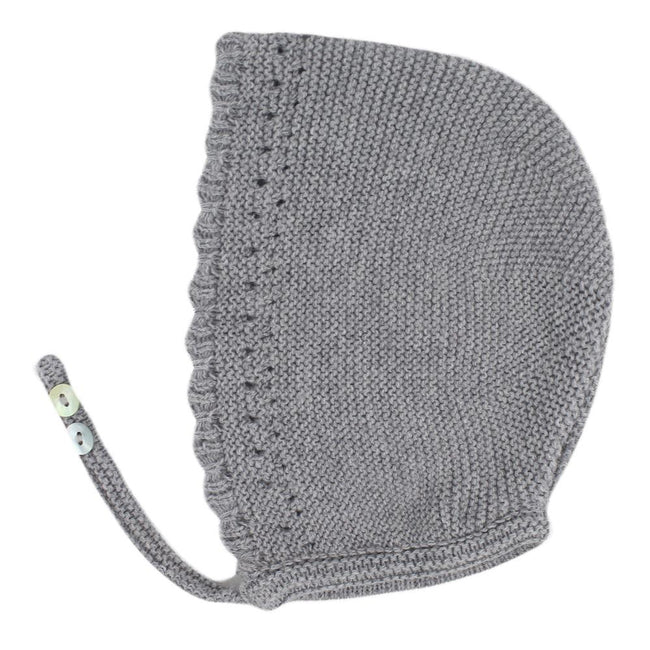 Grey Baby knitted bonnet - orkids boutique