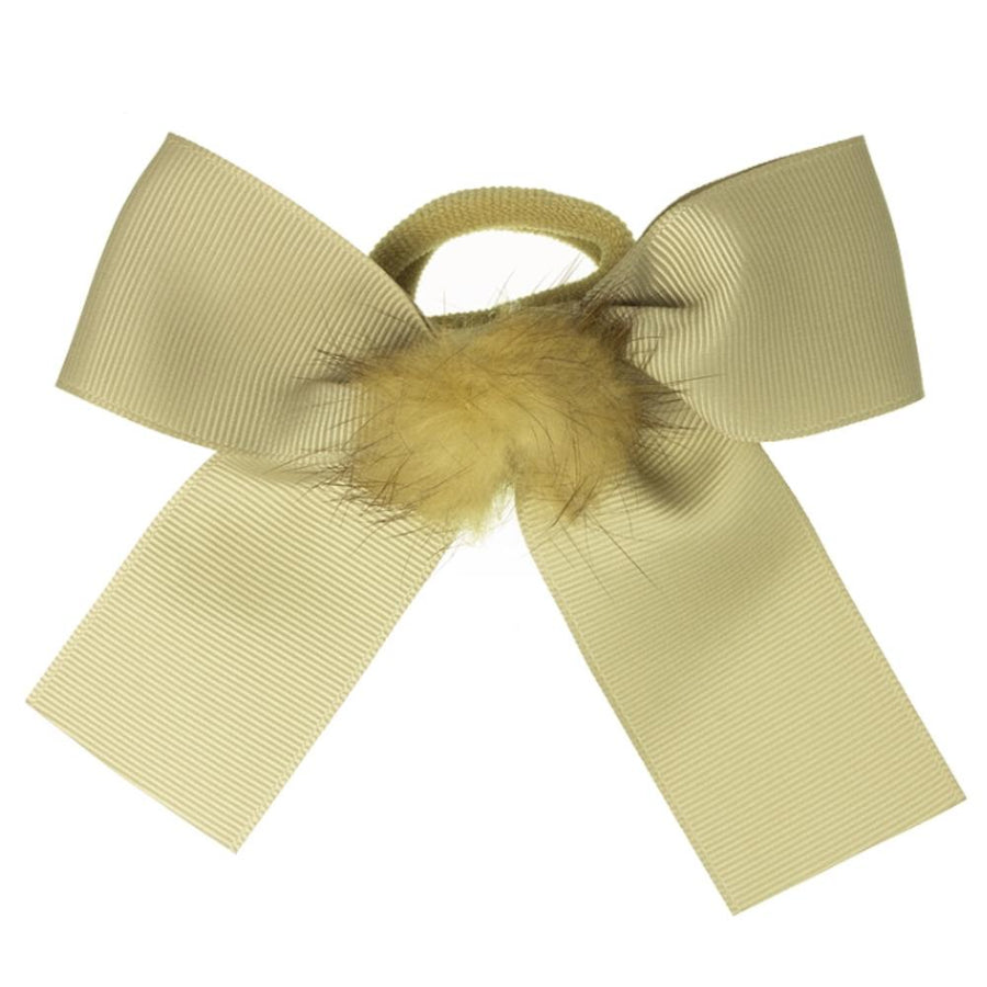 Girls bow hair bubble beige grosgrain - orkids boutique