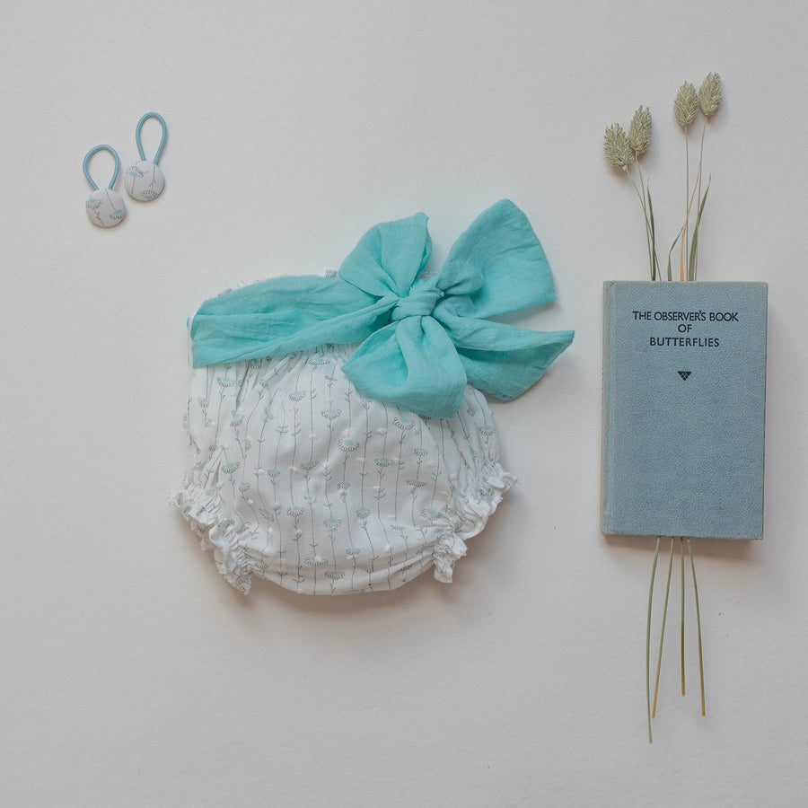 Mini pigtail blue floral bobble - orkids boutique