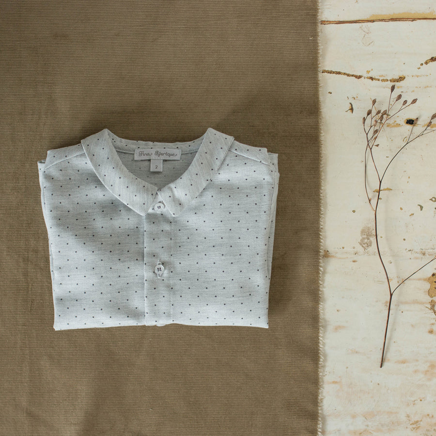 Dotted grey Boy cotton shirt - orkids boutique