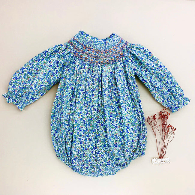 Girl ditsy handsmocked romper - orkids boutique