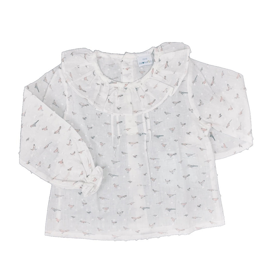 Baby Girl Bird Print Blouse - orkids boutique