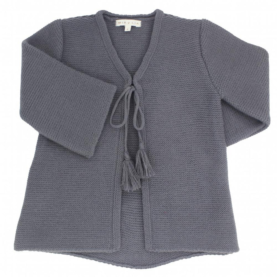 Girls grey long knitted cardigan - orkids boutique