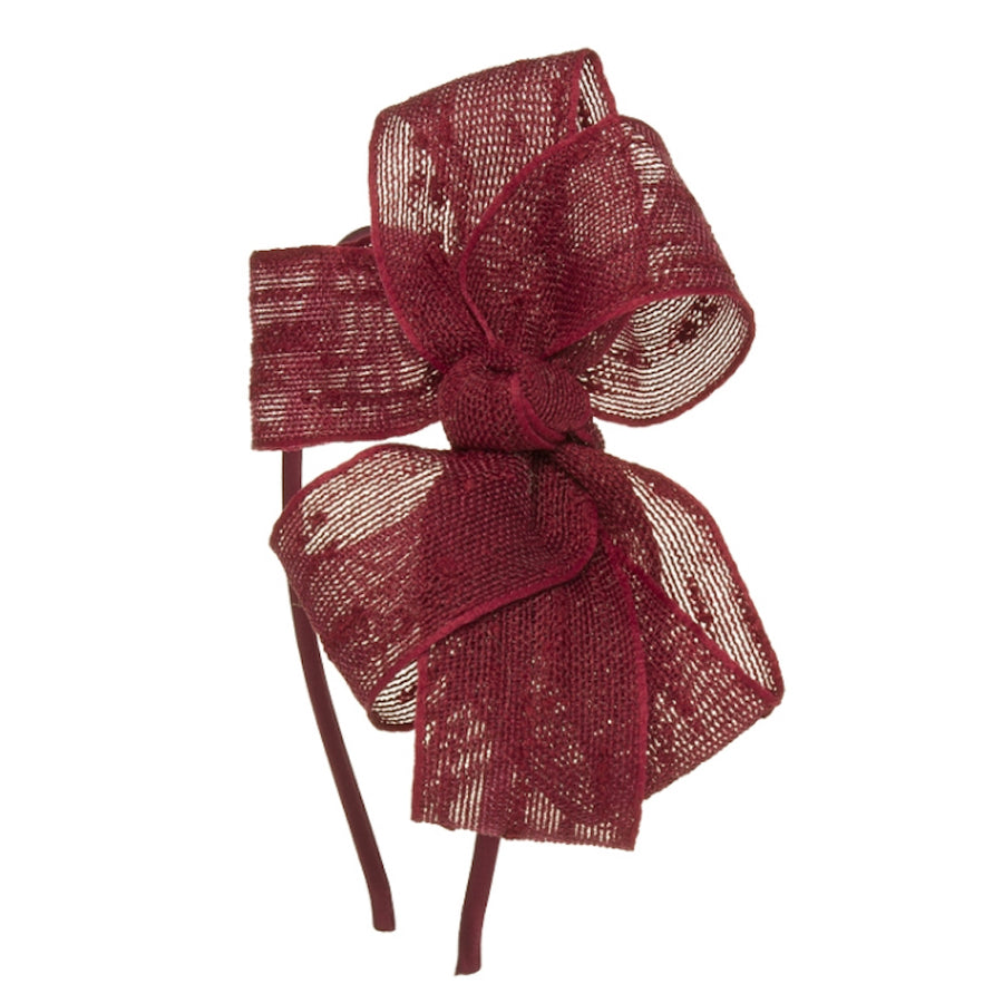 Girls Moroon bow hairband - orkids boutique