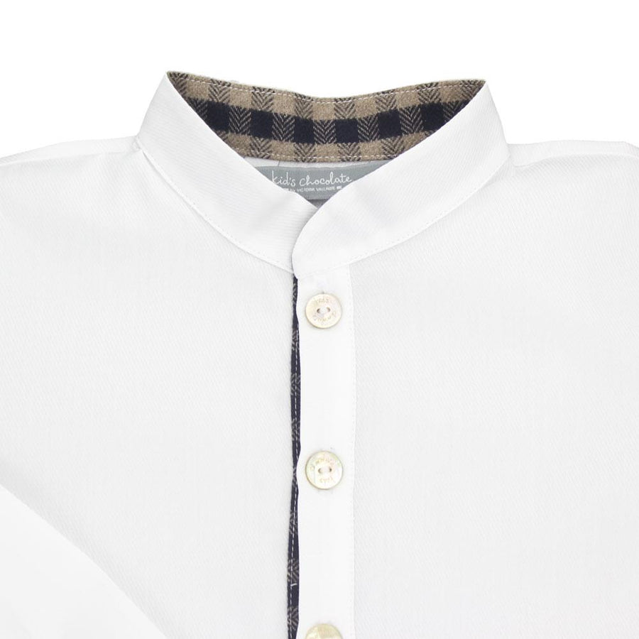 White Cotton Boy Shirt - orkids boutique