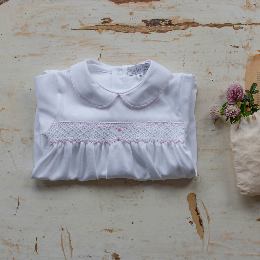 Baby girl smock sleepsuit - orkids boutique