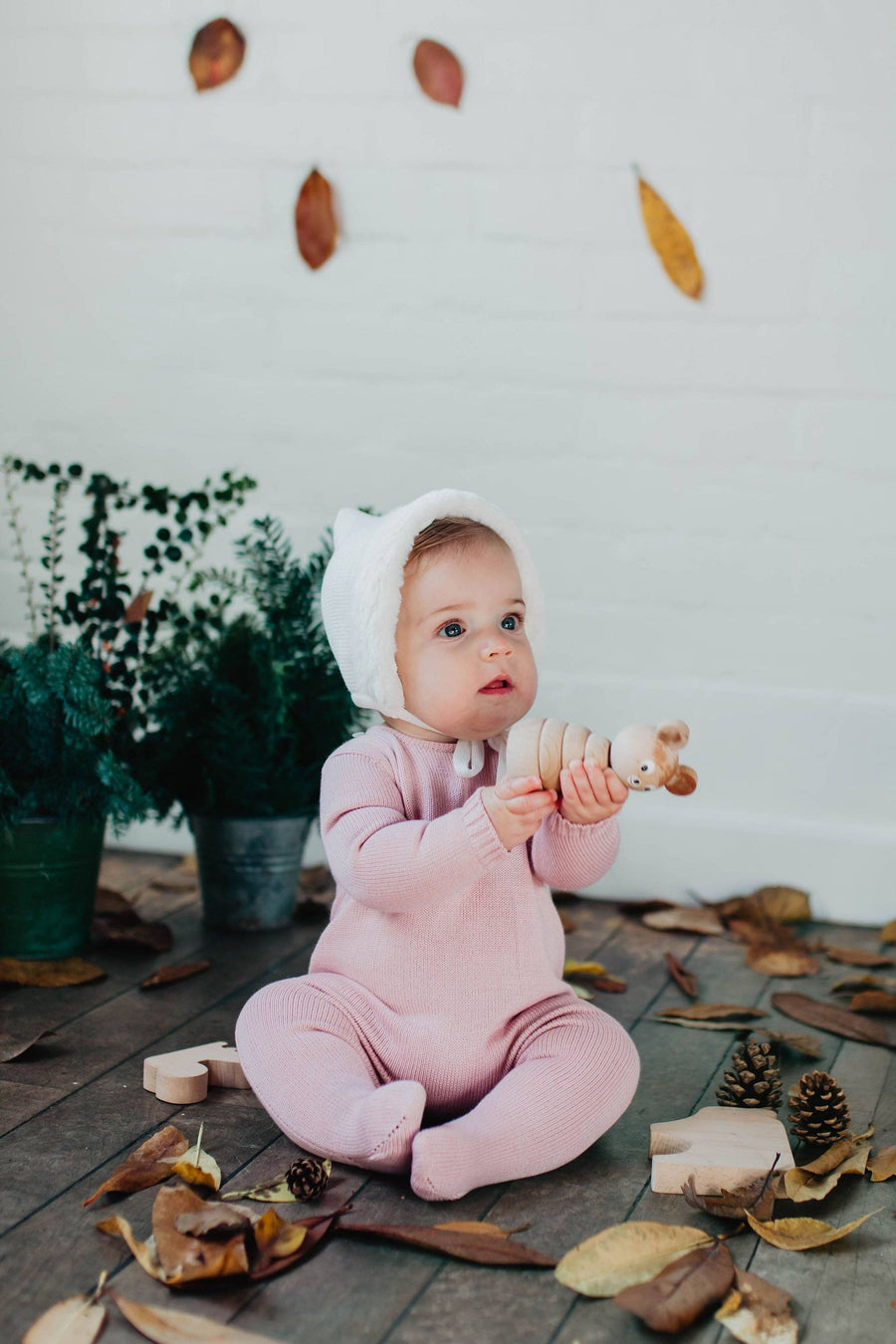 Dusty pink Orla Baby knitted romper - orkids boutique