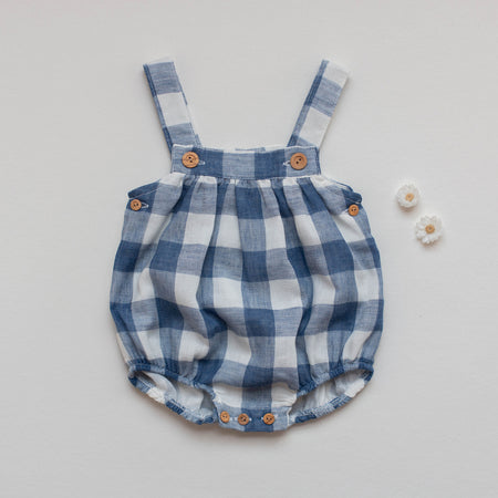 Baby gingham dungaree - orkids boutique