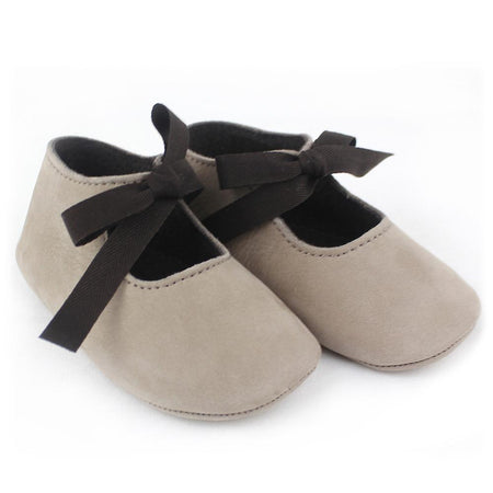 Baby girl taupe leather shoes - orkids boutique