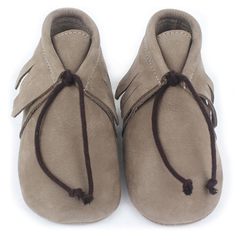 Unisex light brown Saqueto baby shoes - orkids boutique