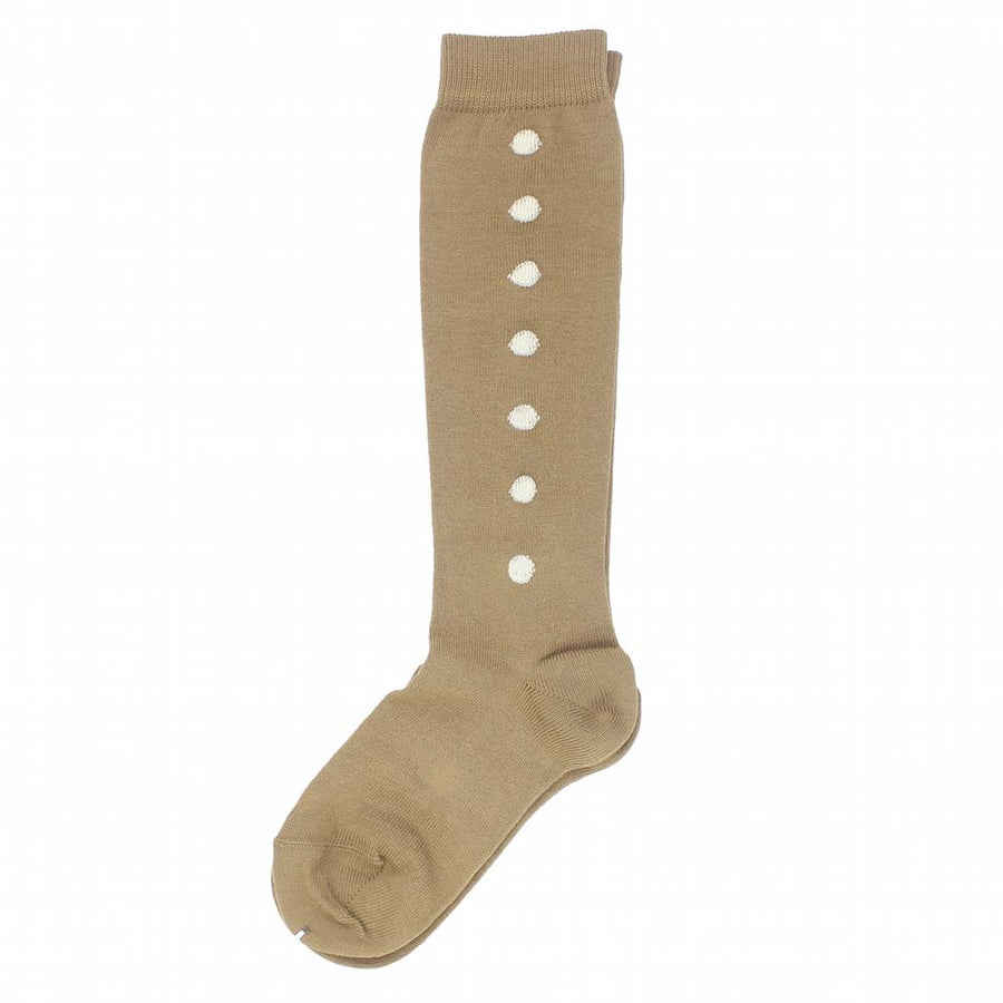 Polka dot knee-high socks dark camel - orkids boutique