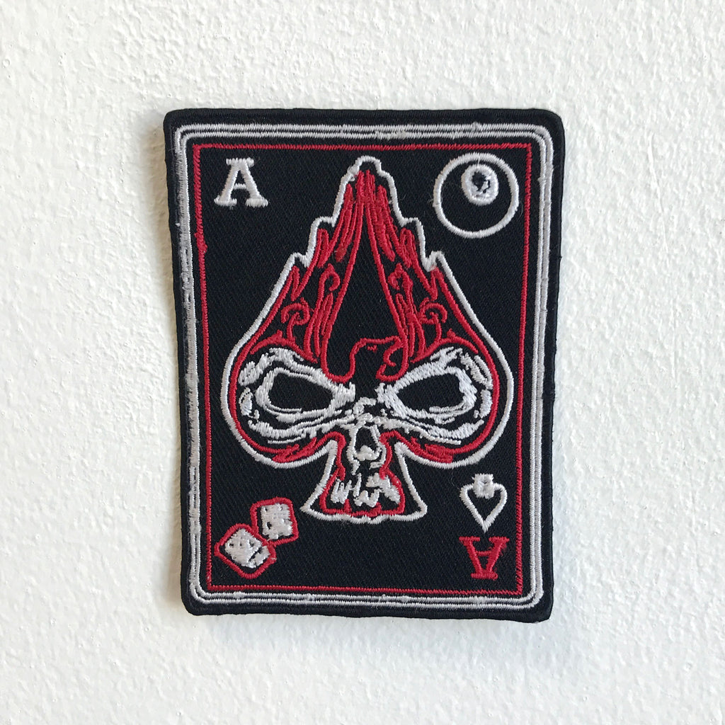 Ace of Spades burning skull black Iron Sew on Embroidered Patch - Patches-Badges
