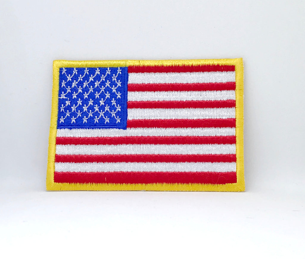 American Flag USA Stars and Stripes Iron on embroidered patch - Yellow Border