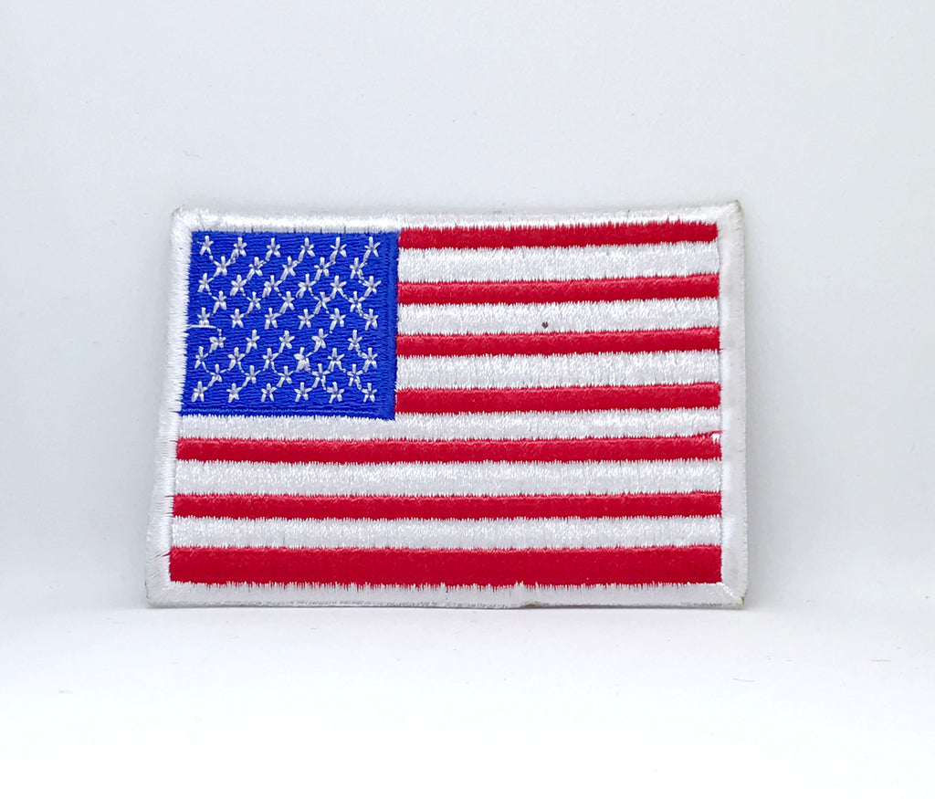 American Flag USA Stars and Stripes Iron on embroidered patch - White Border