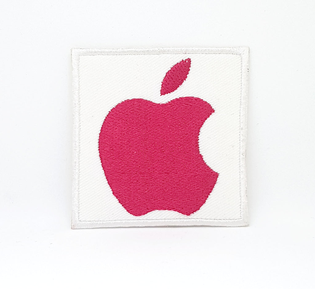 RED APPLE LOGO mobile laptop logo Iron Sew on Embroidered Patch UK Seller