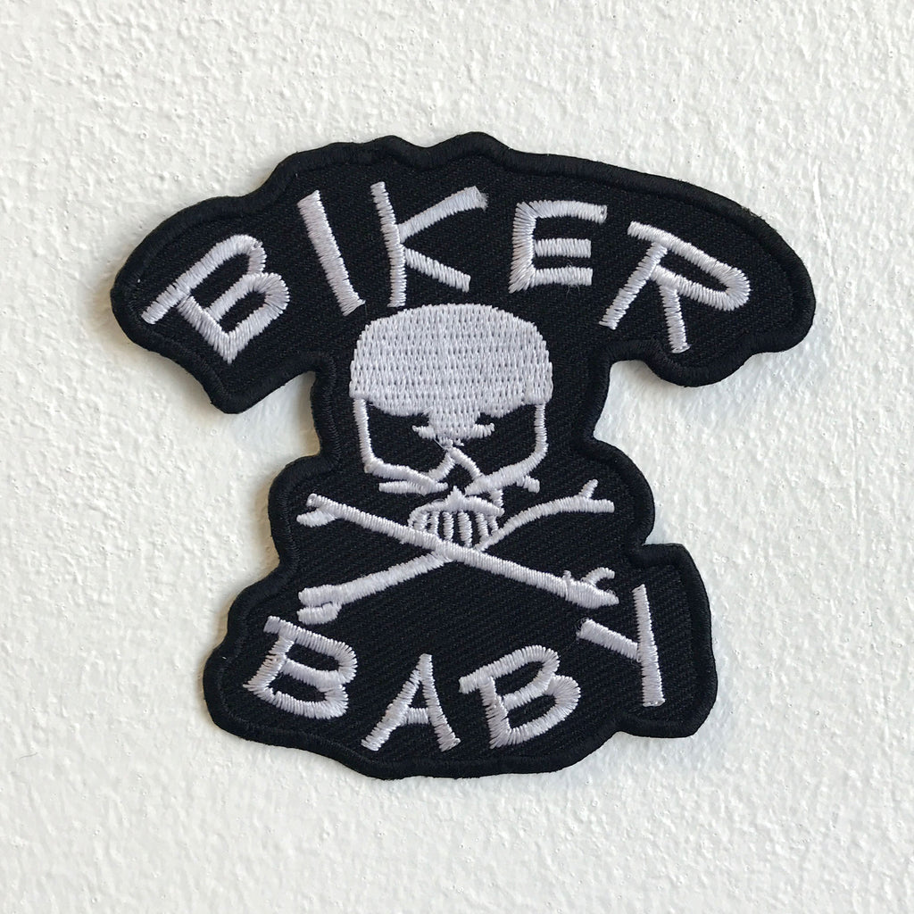 Biker Baby Skull Crossbone Biker Iron Sew on Embroidered Patch - Patches-Badges