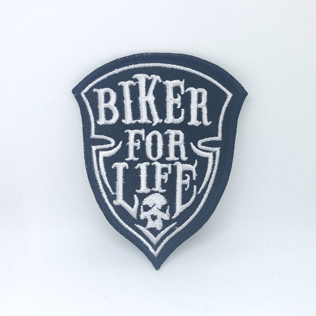 Biker For Life Patch Iron on Sew On Embroidered Badge Motorbike