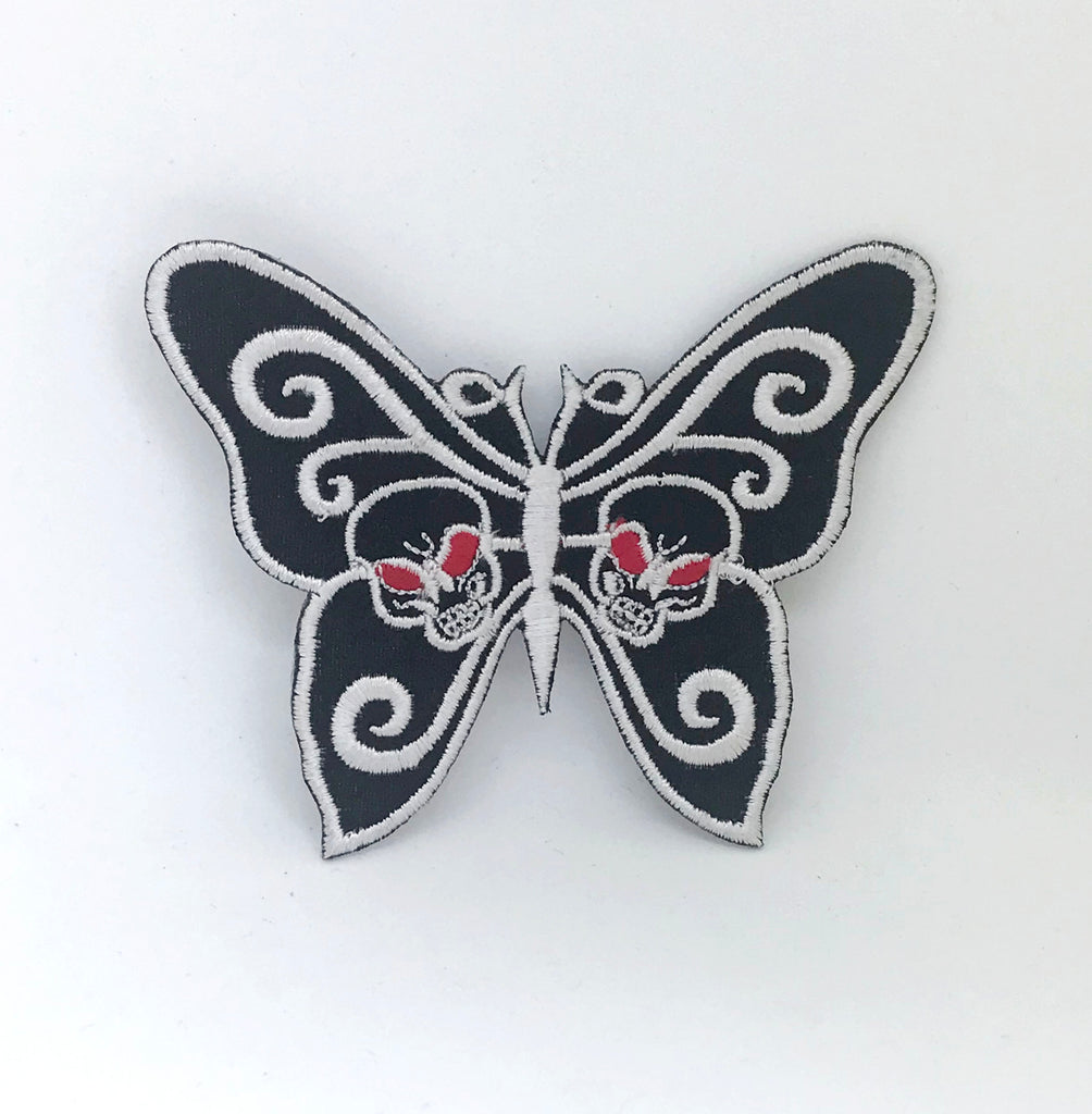 Butterfly Black White Dress Badge Sew Iron On Embroidered Patch