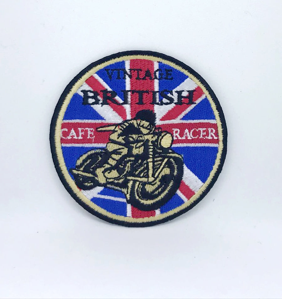 Vintage British Cafe Racer Iron on/Sew on Embroidered Patch