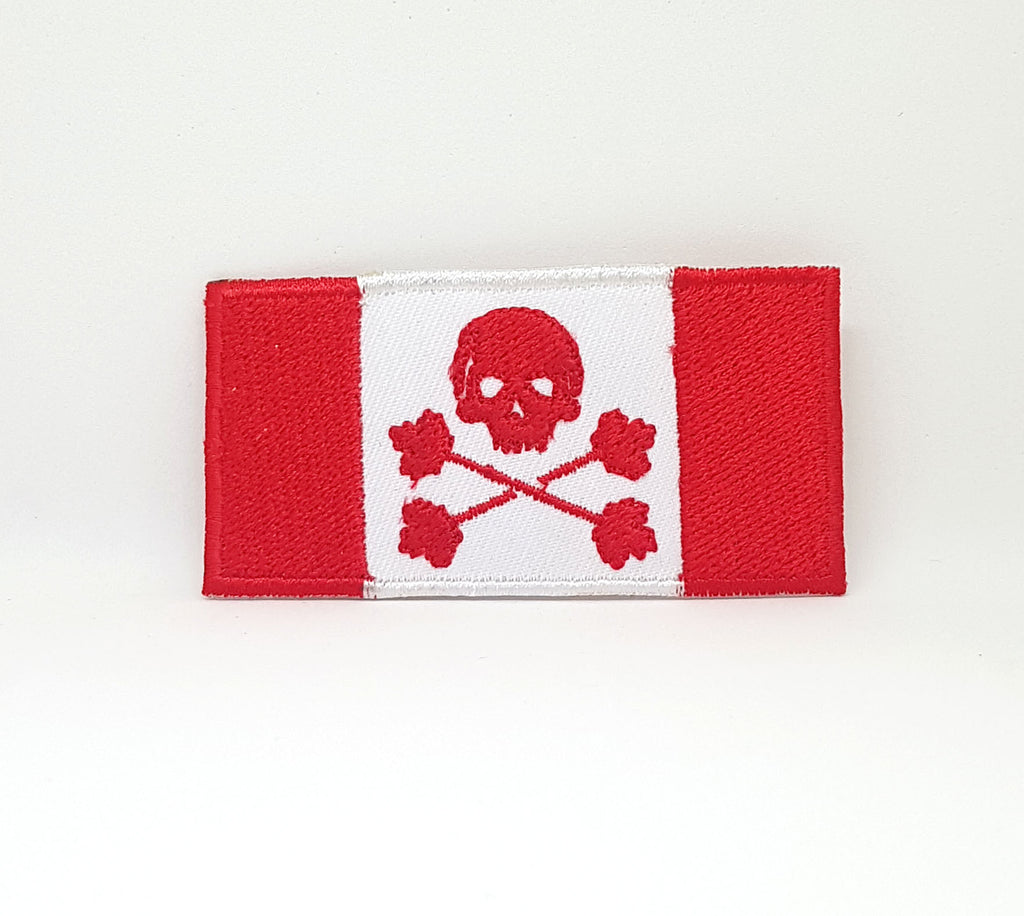 Canadian Flag Skull & Maple Leaf Cross Bone Iron Sew on Embroidered Patch - Patches-Badges