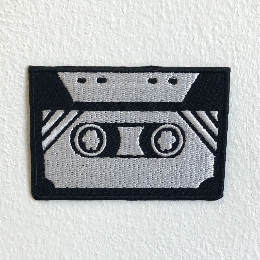 Old Cassette Black and White 80s 90s music Iron Sew on Embroidered Patch